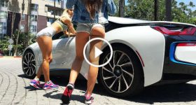 Attractive Girls Driving A BMW I8 2016 Model 3