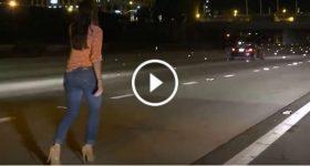 Insanely Drunk Lady Stops To Urinate I-15 Freeway San Diego 2