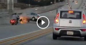 KARMA Strikes Back motorcyclist sedan car highway 2
